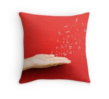 fly music sound holding hand Throw Pillow