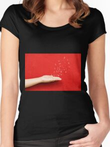 fly music sound holding hand Women's Fitted Scoop T-Shirt