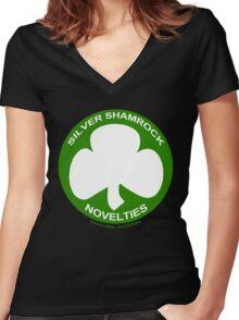 Silver Shamrock Novelties (SSN) Shirt - Traditional White Shamrock Design Women's Fitted V-Neck T-Shirt