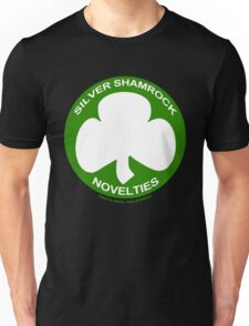Silver Shamrock Novelties (SSN) Shirt - Traditional White Shamrock Design Unisex T-Shirt