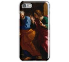 Giovanni Francesco Romanelli - St. John and St. Peter at Christs Tomb iPhone Case/Skin