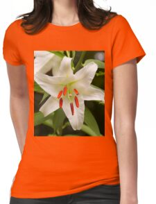 Closeup of a Lovely Easter Lily Womens Fitted T-Shirt