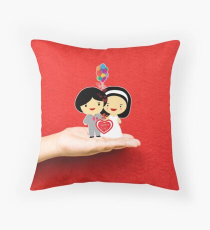happy wedding on a hand Throw Pillow