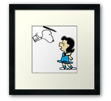 Snoopy kiss Lucy Framed Print