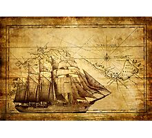 Old Ship Map Photographic Print