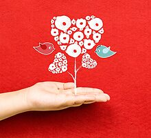 tree hearts and couple birds on a hand by ngocdai86