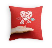 tree hearts and couple birds on a hand Throw Pillow