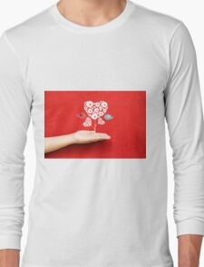 tree hearts and couple birds on a hand Long Sleeve T-Shirt
