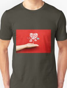 tree hearts and couple birds on a hand T-Shirt