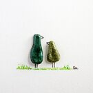 Bird says 'tweet' - Green glazed ceramic  by Sandra O'Connor