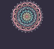 Pink, Cream & Soft Turquoise Glow Medallion on Navy T-Shirt