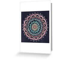 Pink, Cream & Soft Turquoise Glow Medallion on Navy Greeting Card