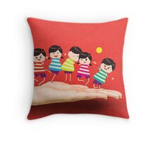 Happy Children on the hand Throw Pillow