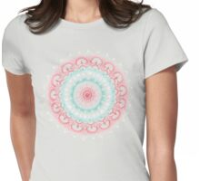 Teal & Coral Glow Medallion Womens Fitted T-Shirt