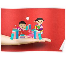 kids studying book on a hand Poster