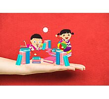 kids studying book on a hand Photographic Print