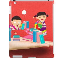 kids studying book on a hand iPad Case/Skin