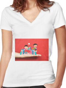 kids studying book on a hand Women's Fitted V-Neck T-Shirt