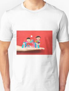 kids studying book on a hand Unisex T-Shirt