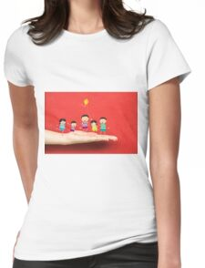 Little children kites on a hand Womens Fitted T-Shirt