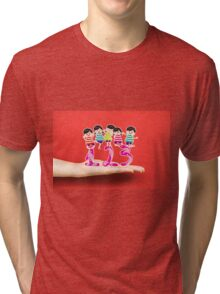happy Kids Playing with number and on a hand Tri-blend T-Shirt