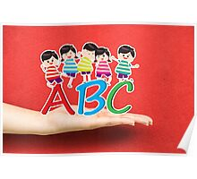 happy Kids Playing with letter and on hand Poster