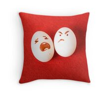 Funny easter emotion eggs isolated on red, love happy eggs couple Throw Pillow
