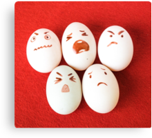 Funny easter emotion eggs isolated on red, love happy eggs couple Canvas Print