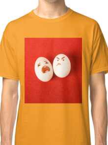 Funny easter emotion eggs isolated on red, love happy eggs couple Classic T-Shirt