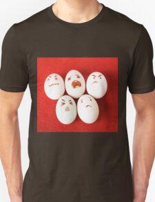 Funny easter emotion eggs isolated on red, love happy eggs couple T-Shirt