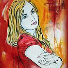 Stencil/Mixed Media Girl by aligee