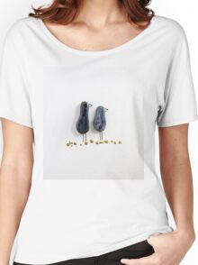 Bird says 'tweet' - Blue sparkle glazed ceramic  Women's Relaxed Fit T-Shirt