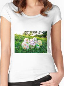 Colorful Easter eggs in a field of grass Women's Fitted Scoop T-Shirt
