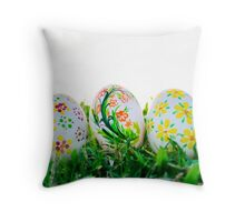 Row of Easter Eggs with Daisy on Fresh Green Grass Throw Pillow