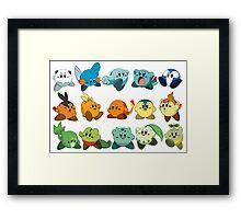 Pokemon Starters Kirby Framed Print