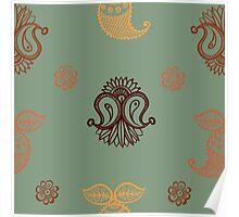 ethnic seamless pattern. Indian ornament, kaleidoscopic flora pattern, mandala. range Poster