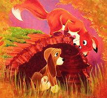 Fox and the Hound Painting by Ryan Rydalch