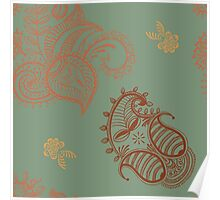 ethnic seamless pattern. Indian ornament, kaleidoscopic flora pattern, mandala. range, seamless pattern Poster