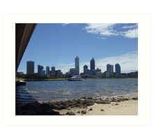 Perth Skyline. Point Belches(Under The Narrows Bridge.) South Perth. Art Print