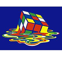 Rubiks Magic Cube in the Ocean Sea Photographic Print