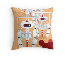Robot Assembly Line Throw Pillow