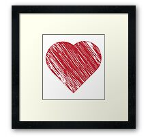 Hand drawn red heart 3 Framed Print
