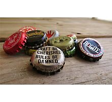 Craft Beer Bottle Caps Photographic Print