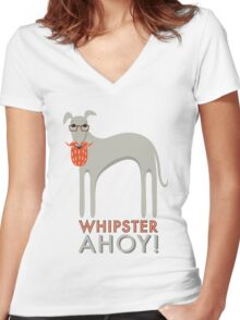 Whipster Ahoy! Women's Fitted V-Neck T-Shirt