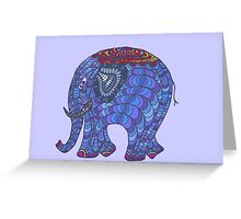 Colourful, patterned, doodle elephant Greeting Card