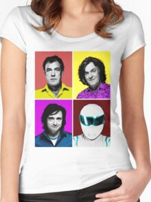 Top Gear Inspired Pop Art, All Personalities in One Women's Fitted Scoop T-Shirt