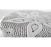 flower on lace doily Photographic Print