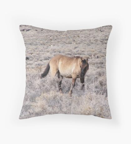 wild horse in a desolate desert Throw Pillow