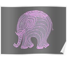 Pretty pink and gray elephant Poster