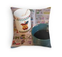 Coffee with the Funnies  Throw Pillow